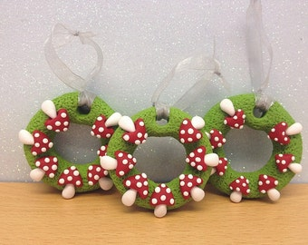 Clay Fairy  Red Toadstool, Mushroom Christmas Tree Hanging Decorations x 3