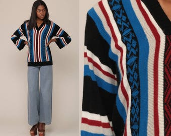 Boho Sweater Aztec 70s Bohemian Stripe Tribal BELL SLEEVE Ethnic Southwest V Neck Vintage 1970s Blue Black Pullover Festival Medium Large