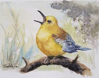 Prothonotary Warbler - original watercolor painting