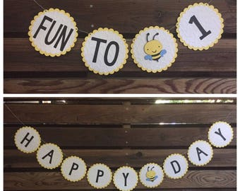 """Bumble bee """"fun to bee 1"""" and """"happy bee day"""" banners (C)"""