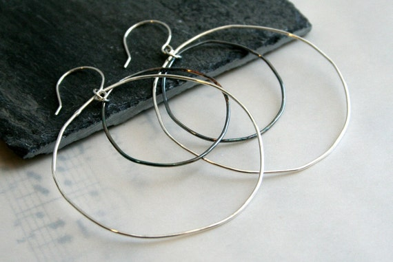 Double Loop Polished, Oxidized Sterling Silver Earrings