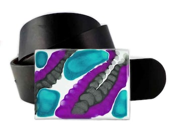 Rectangle Belt Buckle Hand Painted Enamel in Purple Turquoise with Gray Mod Inspired Custom Colors and Personalized Options