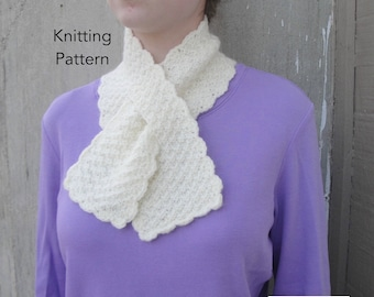 Pull Through Scarf Knitting Pattern, Easy Ascot Neck Warmer, Office Scarflette, Keyhole Scarf, Worsted Weight Yarn