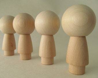 Kokeshi or Peg dolls - Unfinished, unpainted, DIY, blank wooden dolls - Lot of 4 - Kokeshi dolls with skirts and Large heads