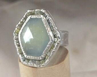 Huge Sapphire and Raw Diamond ring,   multi stone Ring, Silver, Rose cut blue sapphire and  diamond ring, sapphire jewelry