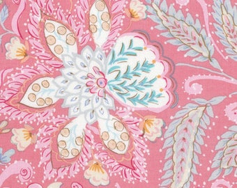 SALE Dena Designs Isabelle Ornate in Pink - Floral Fabric by the Yard - Blue Pink - Watercolor Floral Quilting Boutique Clothing Fabric