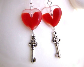 Key with a Heart Earrings - Steampunk Earrings with a red heart & silver skeleton key - Valentine jewelry