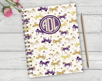 Unicorn personalized hardback spiral journal, personalized note book, custom monogram notebook, custom journal, gift for writers, NBW01
