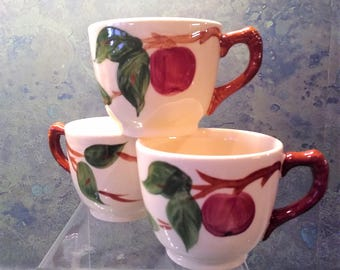 Vintage Franciscan Apple Pattern Cups and Saucers Hand Painted (Set of 3)