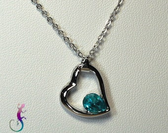 Chain + A191 turquoise Crystal heart pendant