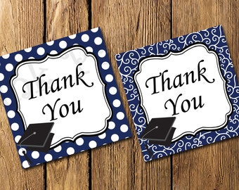 Printable Navy and White Graduation Thank You Tags - Instant Download