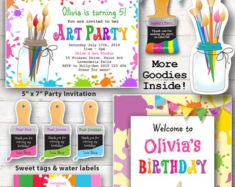 EDITABLE - D.I.Y. Editable Art Party Kit, Painting party, Craft Party Printables, Easy Edit at home with Adobe Reader.
