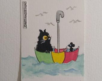 ACEO #103 original art black cat mouse umbrella float sea mini freeship