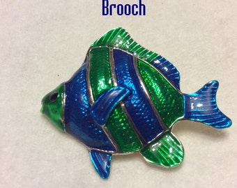 M Jent enamel on metal fish brooch pin.