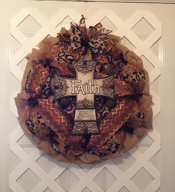 Christian Burlap Wreath - Burlap Cross Wreath - Religious Burlap Wreath - Cross Wreath -  Cross -  Everyday Wreath - Burlap Wreath - Burlap