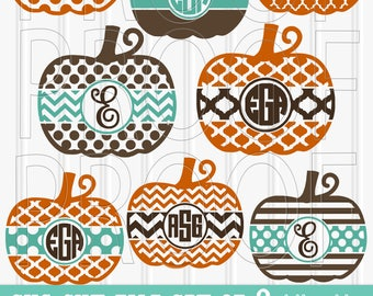 Pumpkin SVG File Set 8 cut files svg/png/jpg formats! no letters included. Ungroup in cutting program to mix and match centers! monogram svg