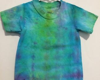 Kids 2T/3T snow dye tie dye tee, lime green blue and purple gender neutral. HA825