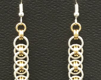 Layered or Celtic weave chain maille earrings