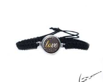 "Shamballa bracelet ""Love"" Brown + 1 Chunk Snap Button, snap button"