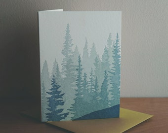 Pacific Northwest Forest Letterpress Card (Pack of 5)