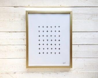 Black Crisscross Art in 8x10 Gold Frame