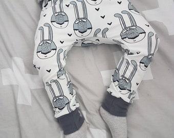 Bunny organic baby harem trousers - baby leggings - baby joggers - harem pants - toddler harems - baby clothing - organic clothing - mono