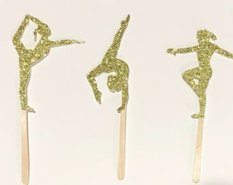 "12 Gymnast Cupcake Toppers | Gymnastics | Glitter | 2 3/4"""