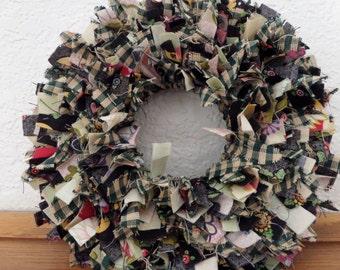 "6"" Country Fall Mini Rag Wreath Wall Decor"