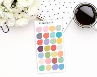 28 Soft color Teardrop Stickers - MC 0035