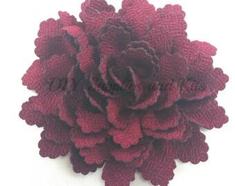 "3.5"" Burgundy snowflake fabric flower - Large flowers for headband or hair clip diy - Christmas flowers - Flower heads"