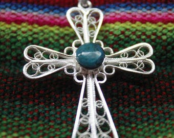 Sterling Silver Christian cross with turquoise stone