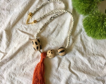 Black/Orange Ball & Tassel Necklace