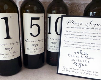 Guest Book Anniversary Wine Labels 4+ labels, 1 instructional sign..choose your colors and numbers