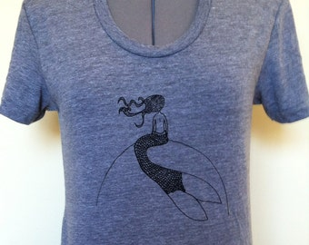 Mermaid T Shirt Feminine Cut Athletic Grey Sizes S through XLarge