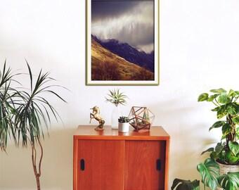 Large Wall Art, Mountain Photography, Nature Art, Office Wall Art, Mountain Art, Glen Coe, Scotland Art Print, Cloud Photography