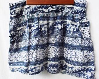 Vintage Boho Hippie Short Skirt Indian Blue White Floral Print Cotton Pocket
