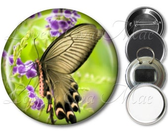 Butterfly Pocket Mirror, Compact Mirror, Butterfly Magnet, Butterfly Bottle Opener Key Ring, Butterfly Keychain, Pin Button, Purple & Green