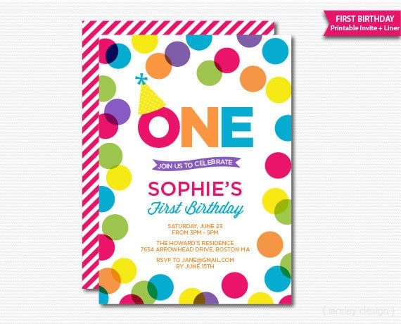 Colorful first birthday invitation polka dots girls birthday colorful first birthday invitation polka dots girls birthday bright dots printable digital invitation 1st birthday any age filmwisefo Choice Image