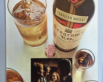 Lot of 4 1966, 1968 and 1970 Seagram's V.O. Canadian Whisky Print Ads