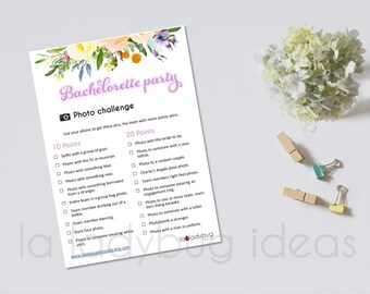"Bachelorette party Photo Challenge, Floral. Printable game. Bridal shower scavenger hunt photo for print. Instant download. PDF File. 5""x7"""