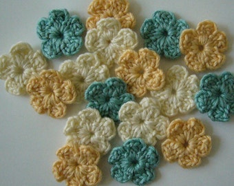 Crocheted Flowers - Yellow, Cream and Aqua - Wool Flowers - Crocheted Flower Appliques - Crocheted Flower Embellishments - Set of 6