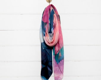Printed Wool Scarf - Dark Poppy