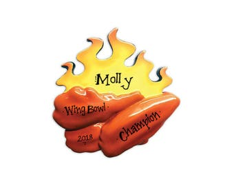 Hot Wings Personalized Christmas Ornament / Buffalo Wings / Hot Wings / Eating Contest / Hand Personalized with Name and Message