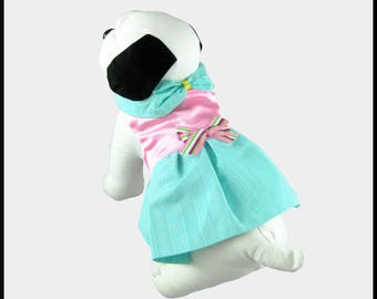 NEW Pink Satin and Aqua Lined Moire/Taffetta Party Dog Dress w/ Split Collar & Candy Striped Bow (Size 8) DARLING...ONE of a Kind!