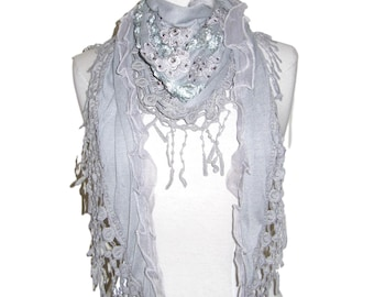 Triangle scarf shawl wrap diamantes flowers & crochet tassels cruise, races etc - Grey - CFOC916GY