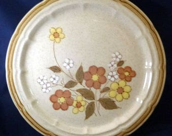 Vintage Crown Manor Floral Garden Hand Painted Stoneware Dinner Plate, 1970s