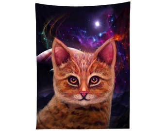 Space Kitty Tapestry - Galaxy Cat Wall Decor - Planet Housewarming Gift - Psychedelic Hanging - Festival Rave Flag