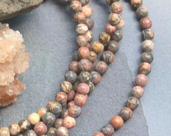 90 4 mm Leopard skin Jasper stone round beads