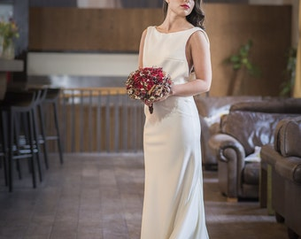 Ivory Crepe Backless Wedding Dress