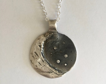 Fine Silver Crescent Moon and Stars Necklace